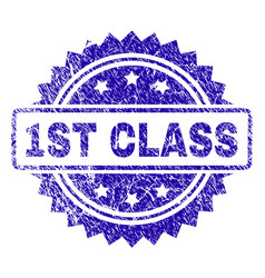 Grunge 1st class stamp seal vector