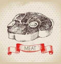 hand drawn sketch meat product vintage beef menu vector image
