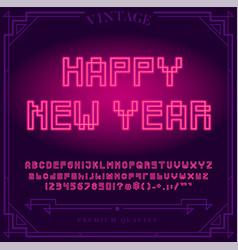 Happy new year holiday bright neon alphabet vector