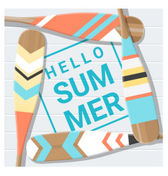 Hello summer background with painted canoe paddle vector