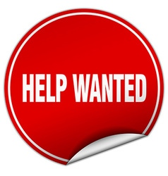 Help wanted round red sticker isolated on white vector