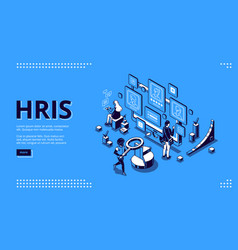 Hris isometric landing page human resources tech vector