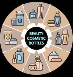 infographic set of beauty cosmetic bottles vector image