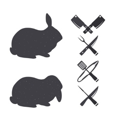 Isolated rabbits on a white backgroud vector