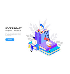isometric library concept web archive and e vector image
