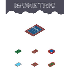 Isometric lifestyle set of tennis american vector