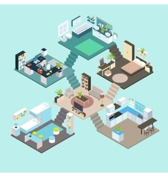Isometric Rooms Composition vector image