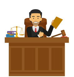 Judge character working at the court vector