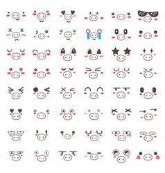 Kawaii pig face icon design vector