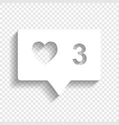 like and comment sign white icon with vector image