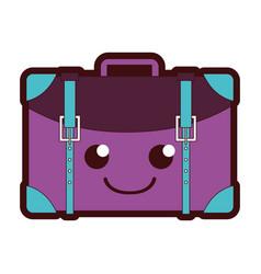 Line color happy travel backpack kawaii cartoon vector
