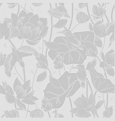 lotus flowers and kingfishers seamless background vector image
