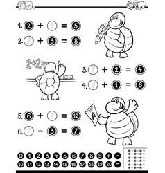 Mathematical worksheet coloring book vector