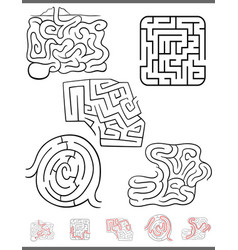 maze leisure game set with solutions vector image