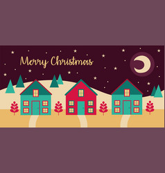 Merry christmas card with cityscape night scene vector