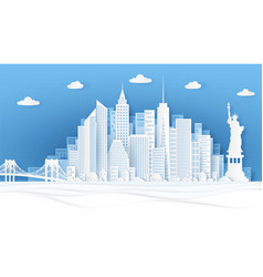 new york paper cut panorama famous landmarks vector image