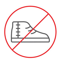 No footwear thin line icon prohibited and vector