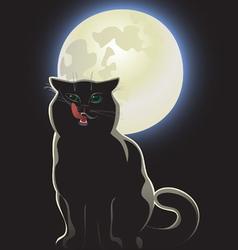 Nocturnal black cat vector