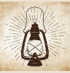 Oil lantern or kerosene lamp with rays of light vector