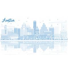 Outline austin skyline with blue buildings vector