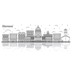 outline havana cuba city skyline with historic vector image