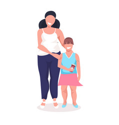 overweight little girl with obese mother fat over vector image