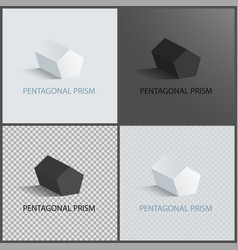 Pentagonal prisms set on dark light and vector