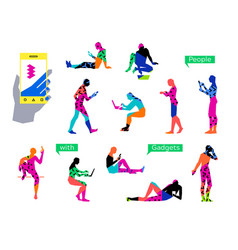 people using gadgets set simple straight line vector image
