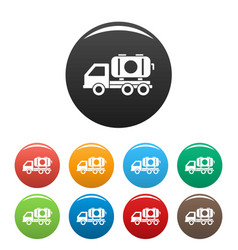 petrol truck icons set color vector image