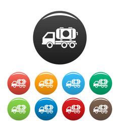 Petrol truck icons set color vector