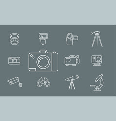 photo and video equipment icons - set web and mobi vector image