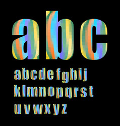pixel lowercase grunge alphabet in soft pastel vector image