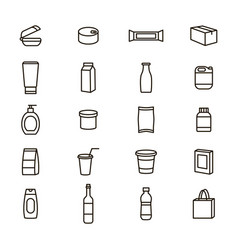 plastic packaging signs black thin line icon set vector image