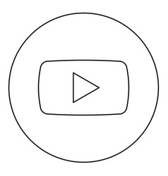play button icon black color in round circle vector image