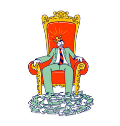 Powerful business man character in crown on head vector