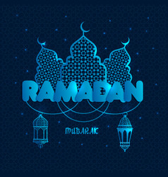Ramadan greeting with silhouette vector