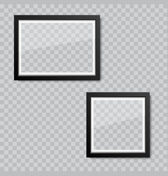 realistic blank glass picture or photograph frame vector image
