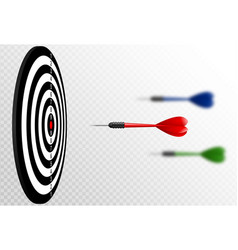 red dart arrows flying to target dartboard vector image