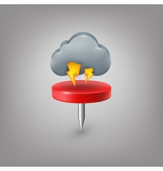 Red pin icon weather Cloud lightning vector