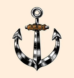 sea anchor nautical or marine iron armature vector image