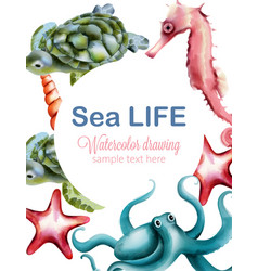 Sea life watercolor drawing with octopus turtle vector