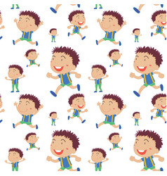 Seamless background with boys runnign vector