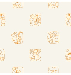 Seamless background with Maya head numerals glyphs vector