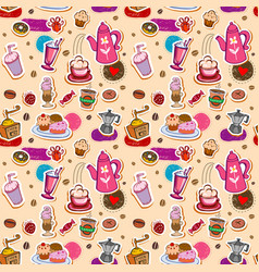 seamless coffee and tea pattern vector image vector image