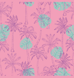 seamless tropical palms pattern summer endless vector image