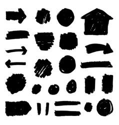set hand drawn paint badges vector image