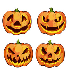 Set of ripe pumpkin with carved eyes and mouth vector