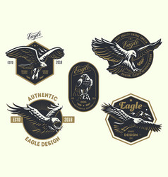 Set of the vintage logo with the eagle vector