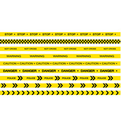set restriction tapes police line crime scene vector image