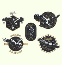 set vintage logo with eagle vector image